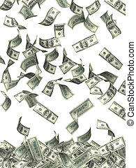 Wealth - Symbol of wealth and success -  rain from dollars