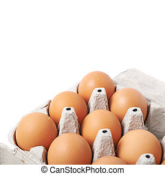 Filled egg carton package isolated over the white background...