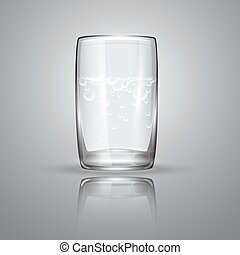 Vector illustration with   isolated glass on grey background.