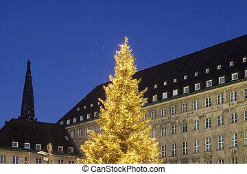 Bochum Rathaus during Christmas Bochum, North...