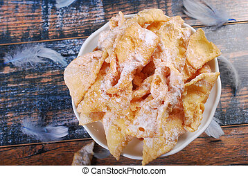 traditional in Poland deep fried pastry faworki for carnival...