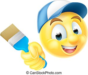 Painter Emoji Emoticon with Paintbrush - Cartoon emoji...