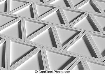 Three-dimensional white triangles - 3d rendering of a...