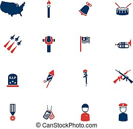 Memorial day simply icons - Memorial day simply symbol for...