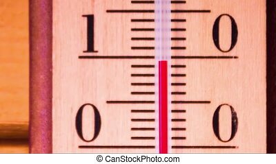 Temperature increases on a thermometer - Red mercury showing...