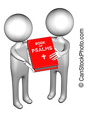 3d People with Book Of Psalms, isolated on white background...