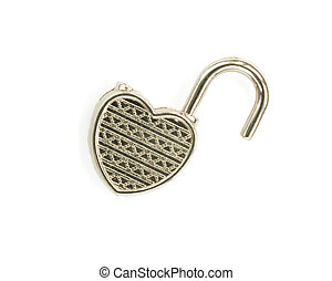 open heart concept - open lock in the form of heart isolated...