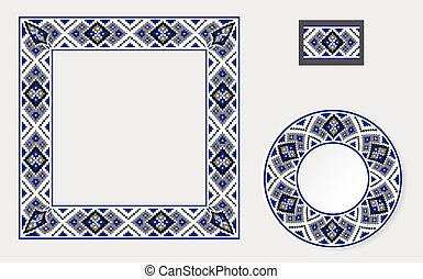 Set of Ethnic ornament pattern brushes and examples of use ....