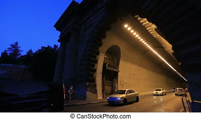 Night tunel light the car Budapest