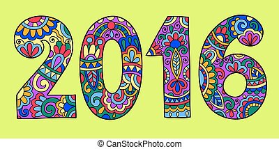 new year inscription 2016 hand written, colored vector...