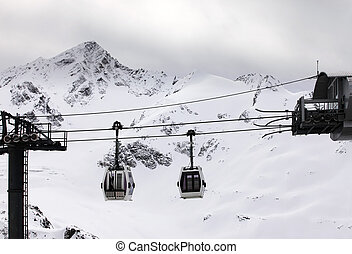 ski lift - Ski lift on a background of mountain