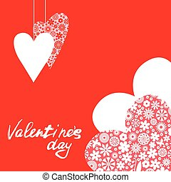 Valentines with patterned hearts on red background - Vector...