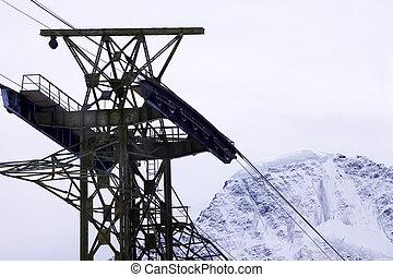 ski lift - Ski lift on a background of mountain