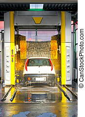 Automatic carwash - Car in automatic carwash machine in the...