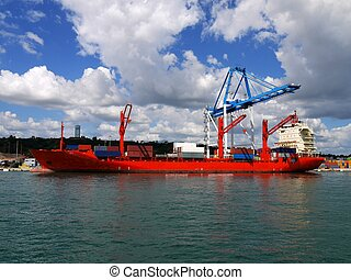 Red Container Vessel 2
