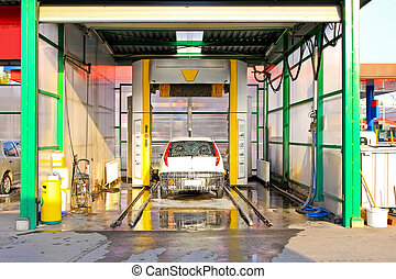 Carwash - Look inside of automated car wash tunnel