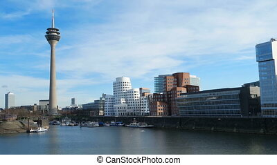 Dusseldorf cityscape with view on media harbor, Germany....
