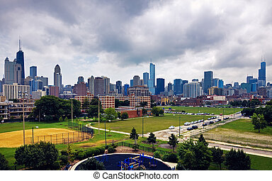Cloudy day in Chicago, Illinois - downtown skyline