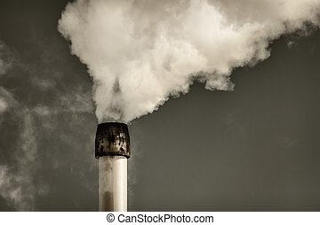 Air pollution from a factory pipe