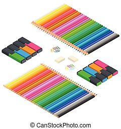 Color pencils, Multicolored highlighters, highlighters, colorful paperclips isolated on white background close up. Set of flat design concept. Flat 3d Vector isometric illustration