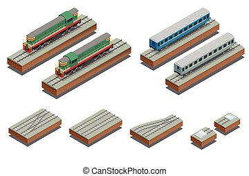 Fast Train coach and diesel electric locomotive. Vector...