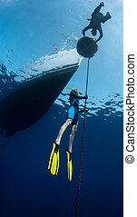 Freediving - Lady free diver ascending along the metal chain...
