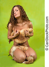 girl covered with fox fur - Naked girl covered with fox fur...
