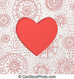 Valentines day card - Floral background with cut in heart...