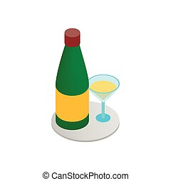 Champagne and glass 3d isometric icon
