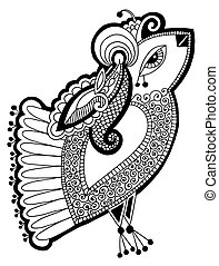 black and white peacock decorative ethnic drawing - black...