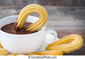 caliente, chocolate, con, churros., español,