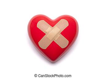Coração, gesso, vermelho, adesivo