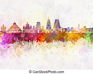 Bangalore skyline in watercolor background