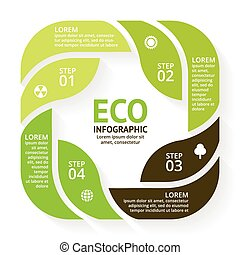 Vector circle arrows green leaves eco infographic Ecology...