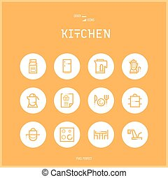 Line colorfuul icons set collection of Kitchen and Cooking...