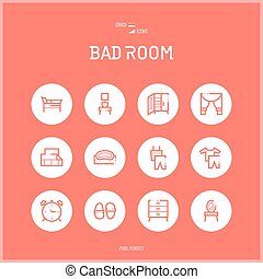 Line colorfuul icons set collection of bad room. - Line...