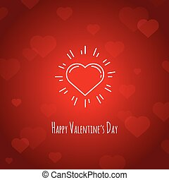 Cute happy valentines day red card with line heart symbol