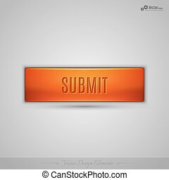 Orange vector web button with shadow on the gay background -...