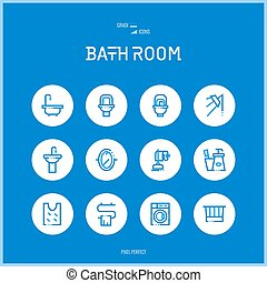 Line colorfuul icons set collection of bath room for shop...