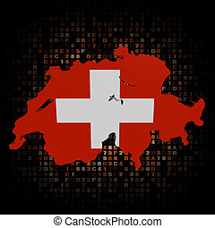 Switzerland map flag on hex code illustration