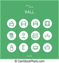 Line colorfuul icons set of hall and Home room types...