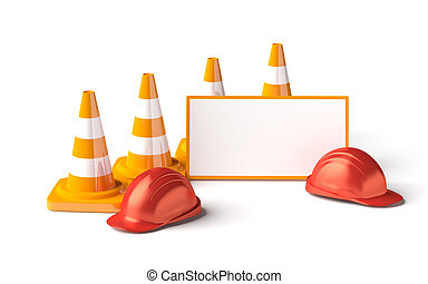 Traffic cones with work helmet isolated on the white -...