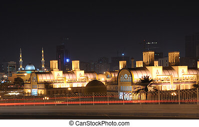 Central Souq in Sharjah City at night. United Arab Emirates