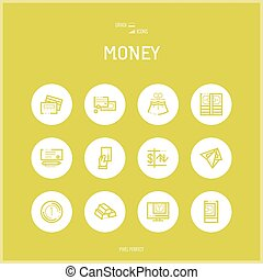 Line colorfuul icons set collection of Money and Banking...