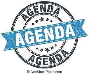 agenda blue round grunge vintage ribbon stamp