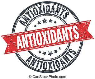 antioxidants red round grunge vintage ribbon stamp
