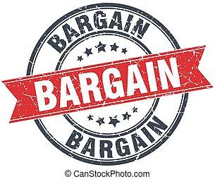 bargain red round grunge vintage ribbon stamp
