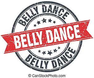 belly dance red round grunge vintage ribbon stamp