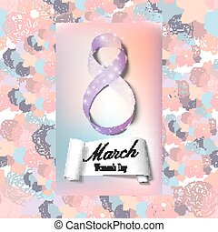 Greeting card for 8 March with banner and symbol of violet ribbon. International Women's Day. Floral vector design