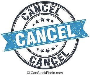 cancel blue round grunge vintage ribbon stamp